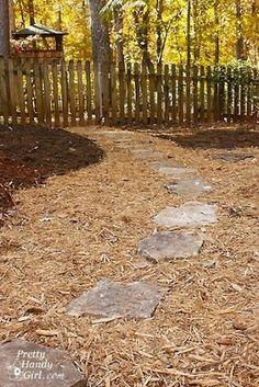 DIY stone/mulch path. Ty Pretty Handy Girl. I hope to be a pretty handy girl, too. Is it weird that I like yardwork?
