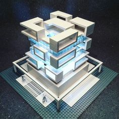 Self-confessed architecture addict, Arndt Schlaudraff, is the brainchild behind these miniature Brutalist buildings created using only white bricks from the LEGO Architecture Studio Box. The result of. Lego Design, Concept Architecture, Amazing Architecture, Brutalist Buildings, Lego Sculptures, Lego Modular, Lego Worlds, Cool Lego, Lego Building