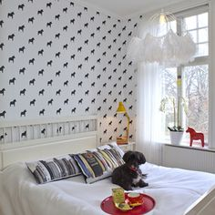 "Wallpaper with ""Dalahorses"".  Paintpart/Wallfashion.  Design: Cecilia Viklund Söderquist/deCign"