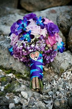 Elegant Rustic Wedding Bouquet, ribbon, purple and blue bouquet, Outdoor wedding flowers Inspiration