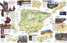 National Geographic Maps, Spain And Portugal, Travel Maps, World, 1984, Painting, Europe, Art, Art Background