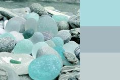 Sea Glass: Sherwin Williams paint colors SW6765 Spa, SW6226 Languid Blue and SW6218 Tradewind.