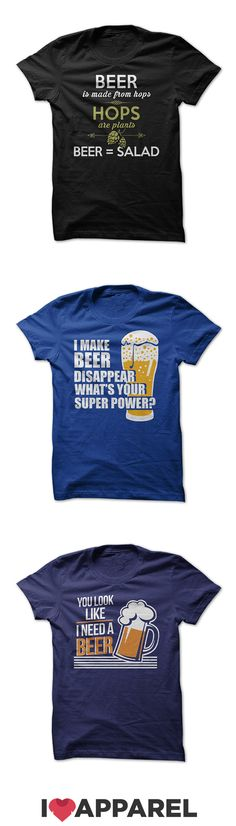 Beer t-shirts, women's fit t-shirts and hoodies made just for those who love the delicious goodness of a cold beer. Check out the variety of colors today at I Love Apparel.