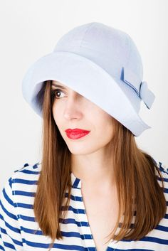 Women Summer hat/ hat for sun blue cotton by TUTUHandmadeHats