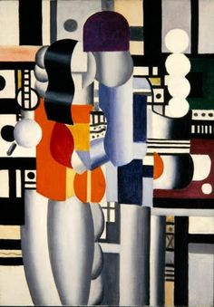 "Fernand Leger - Man and Woman 1921 This work marked the beginning of his ""mechanical period"", during which the figures and objects he painted were characterized by sleekly rendered tubular and machine-like forms."