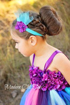 Purple, teal, blue, pink and green tutu dress and headband. Flower girl tutu dress