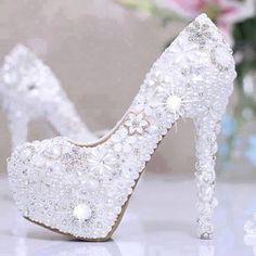 Buy Hot sale Heels Women's Fabulous Wedding Shoes Bridal Shoes High Heels Waterproof Shoes FEIXI at Wish - Shopping Made Fun Wedding Pumps, White Wedding Shoes, Wedding Shoes Heels, Prom Heels, White Shoes, Bridal Shoes, White Pants, Waterproof Shoes, Party Shoes