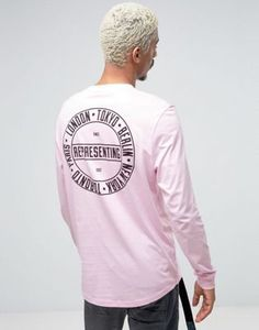 ASOS Longline Long Sleeve T-Shirt With City Back Placement