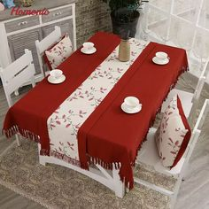 Table Runner Embroidered Floral Tables Cover Dustproof Runners Home Textile 6L