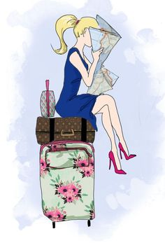#Travel #Girls #Illustration #Valise #Suitcase  #Map #Fashion #Summer #Holiday #Vacation