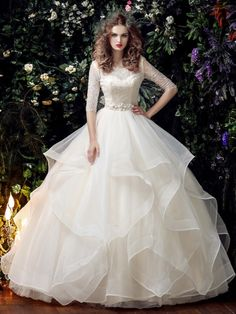 Half Sleeve Lace Beading Ball Gown Half Sleeve Wedding Dress & romantic Wedding Dresses