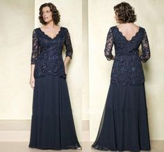 2015 Mother of the Bride Dresses Lace Wedding Party Dresses Navy Gown Brides Beading Appliques 3/4 Sleeves Evening Dress Custom Made Online with $118.33/Piece on Ballydress's Store | DHgate.com