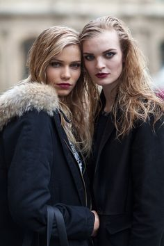 Street Style Paris...obviously models wearing the wet look hair trend