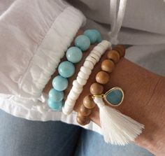 aromatic sandalwood bracelet - yoga by the sea - aqua glass pacific opal tassel bracelet - beachcomber bohemian bracelet Bohemian Bracelets, Handmade Bracelets, Handmade Jewelry, Bohemian Jewelry, Bohemian Necklace, Tassel Bracelet, Beaded Bracelets, Stacking Bracelets, Yoga Bracelet