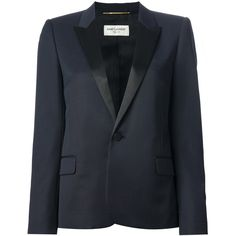 Saint Laurent contrast lapel blazer (191.590 RUB) ❤ liked on Polyvore featuring outerwear, jackets, blazers, blue, blue blazer, lapel jacket, long sleeve jacket, blue blazer jacket and blue jackets