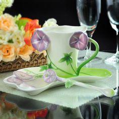 Porcelain Purple Trumpet Flower Green Leave Tea Coffee Set Cup Saucer Spoon.