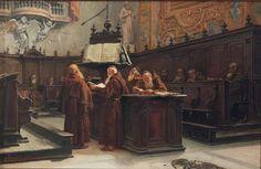 "BERGAMINI FRANCESCO (1849-1889) ""Monaci francescani all'interno di sagrestia."