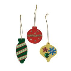 """2-3 inches, wood, prepainted red, green, gold. Just """"add to"""". DIY Colorful Christmas Ornaments - OrientalTrading.com"""