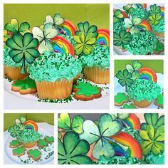 They came out just as I imagined them.  A yummy green, lucky cupcake with clovers and a rainbow.  And what can you find at the end of the rainbow  or inside our lucky cupcake? Yes, a pot of gold or in our case sweet treasure. we printed our lucky clover template, cut out the clovers and glued toothpicks on the  backs to make cupcake toppers. We wanted to share them with you and they are available as a free download at  the end of the post. Clover Green, Clovers, Pot Of Gold, Photo Booth Props, Cupcake Toppers, Etsy Store, Free Printables, Template, Rainbow