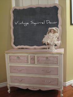 French Provincial Dresser with Chalk Board.  Painted in Annie Sloan Antoinette and Old White Chalk paint.  Accented with gold gilding wax.