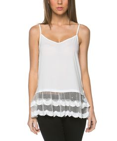 Look at this Mittoshop Ivory Ruffle V-Neck Tank on #zulily today!