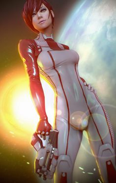 Future, Futuristic, Future Warrior, Sci-Fi, Futuristic Girl, Future Fashion, Futuristic Look, Future Girl, Sexy Comic Girl, Girl Warrior, Futuristic Suit, Science Fiction, Girl with Gun, Futuristic Clothing, Girl Power, Game, Digital Art, Mass Effect - Jane Shepard