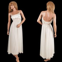 #VintageLingerie Claire Sandra #LucieAnn #Nightgown Bridal White Satin Bust Lace Layered  #ClaireSandra #SomeLikeItUsed