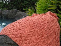 Free Coral Pattern Island Blanket Knitting Pattern