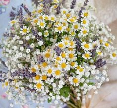 Creating a Cohesive Wedding Theme september flower and lavender bouquuet September flower and lavender bouquet-I'd do lilies of the valley instead of babies breath. September flower and lavender bouquet - I love daisies and there's lots of those here. Bouquet Champetre, Deco Champetre, Lavender Bouquet, Daisy Bouquet Wedding, Wild Flower Wedding, Lavender Blue, Wild Flowers, Wild Flower Bouquets, Daisies Bouquet