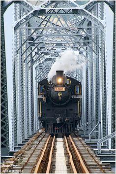 steam locomotive going over bridge By Train, Train Tracks, Train Rides, Railroad Bridge, Railroad Tracks, Garden Railroad, Diesel, Tramway, Bonde