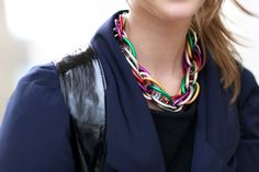 Rainbow-colored chain-link necklace