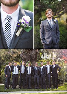 I probably wouldn't use burlap on the boutenierres, but I do like this look for the men.  I think a white flower combined with a little something purple would look good.  They'll probably be wearing black tuxes with royal purple ties/bowties.  Someone also suggested using hydracome (spelling?) berries.
