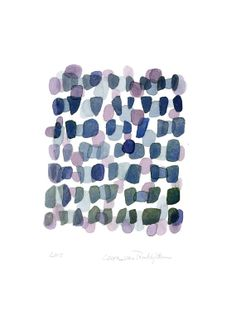 Purple Path Abstract Watercolor Painting blue by LouiseArtStudio, $100.00