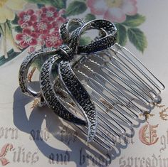 Vintage Marcasite Hair Comb, Silver Tone Bow Design- Wedding, Bridal, Prom Hair Accessories by UniqueHairCombs on Etsy