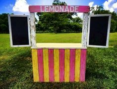 """Pink and yellow """"lemonade"""" stand with chalkboard doors. Add a dowel or shelves at the blank part, cut out the top into a lid for a toy or storage box! Fun Crafts, Diy And Crafts, Crafts For Kids, Kids Lemonade Stands, Market Stands, Bake Sale, Summer Kids, Craft Fairs, Farmers Market"""