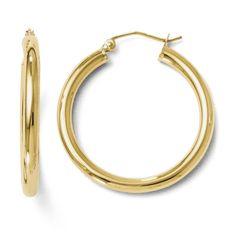 Leslies 14K Polished 3mm Hoop Earrings 242