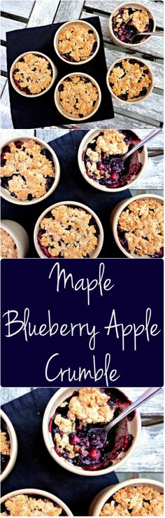 This flourless maple apple blueberry crumble is and free! A simple and delicious recipe! - Cearas cuisine This flourless maple apple blueberry crumble is and free! A simple and delicious recipe! Healthy Vegan Dessert, Vegan Treats, Healthy Desserts, Delicious Desserts, Yummy Food, Gluten Free Desserts, Gluten Free Recipes, Vegan Recipes, Cooking Recipes