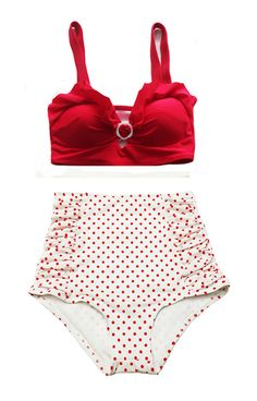 Red Top and Polka dot dots Ruched High waist waisted High-waist Bottom Vintage Retro Swimsuit Swimwear Bikini Swim Clothing Swimsuits M L