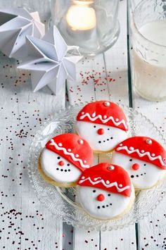 Christmas # Shortbread - Home Decoration Snowman Cookies, Christmas Sugar Cookies, Christmas Sweets, Christmas Cooking, Christmas Goodies, Holiday Cookies, Holiday Treats, Christmas Snowman, Christmas Recipes