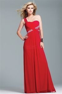 One Shoulder Chiffon Bridesmaid Dresses, Red Chiffon Evening Gown