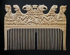 """Russian ivory liturgical comb, c. 1680. It resides at the Hermitage Museum in St. Petersburg. The text reads """"God is one, God is serenity."""""""