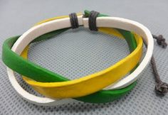 Shoply.com -Fashion Leather Cuff bracelet   Yellow  Green and White  color. Only $3.50