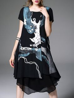 Black Elegant Abstract Asymmetric Midi Dress