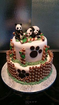 Panda Birthday Cake, Animal Birthday Cakes, Animal Cakes, Birthday Cake Girls, First Birthday Cakes, 2 Year Old Birthday Cake, Sweet Cakes, Cute Cakes, Cake Cookies