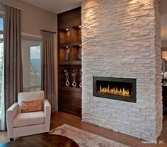 Cultured Stone Winterhaven™ Pro-Fit Alpine Ledgestone fireplace living room project view