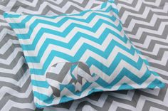 Chevron Elephant Pillow Cover Blue and Grey, Nursery Decor, Elephant Applique Pillow Cover, Pillow Cover, Chevron Stripe From mylittlemookie on Etsy