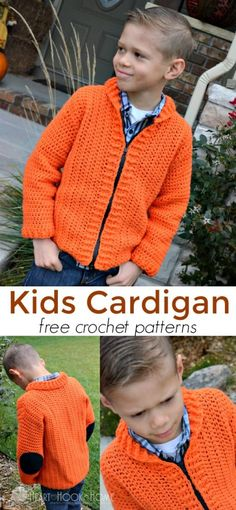 Crochet Blusas Patterns Cozy Kids Cardigan Free Crochet Patterns - This new kids Cardigan is perfect for a 6 - 8 year old! My 8 year old helper hand sewed the zipper onto this kids cardigan all by himself. Boy Crochet Patterns, Crochet Cardigan Pattern, Baby Patterns, Crochet Tunic, Vogue Patterns, Crochet Tops, Crochet Yarn, Vintage Patterns, Crochet Ideas