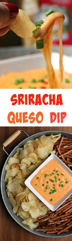 Sriracha Queso Dip  -  A flavor boost by way of Sriracha gives this easy queso recipe a whole new flavor!  Easy to make and always a crowd pleaser.  This is a great nibble for those Big Game Days!  #ad #TheNewFanFavorites