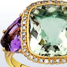 Rose gold, green quartz, amethyst and diamonds