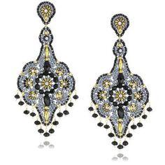 Miguel Ases Black Quartz and Swarovski Grand Dangle Earrings Beading Tutorials, Beading Patterns, Beaded Earrings, Beaded Jewelry, Swarovski, Beadwork Designs, Black Quartz, Quartz Jewelry, Jewellery Uk